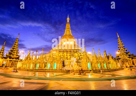 Shwedagon Pagoda in Yangon, Myanmar. - Stock Photo