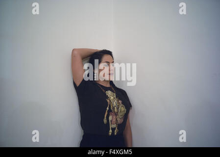 Hollywood, CALIFORNIA, UNITED STATES OF AMERICA. 23rd Oct, 2015. Mexican singer Lila Downs posses for a picture - Stock Photo