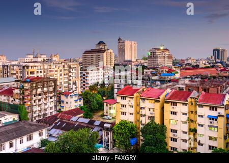 Yangon, Myanmar downtown city skyline. - Stock Photo