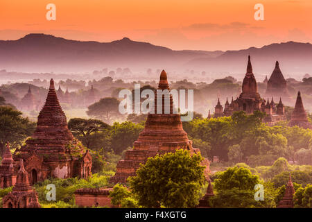 Bagan, Myanmar ancient temples at dusk. - Stock Photo