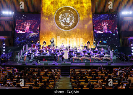 New York, USA. 23rd Oct, 2015. A concert in celebration of the 70th anniversary of the UN is held at the UN headquarters - Stock Photo