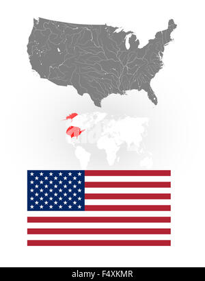 Map Of The United States Of America With Lakes And Rivers Location Of Us On