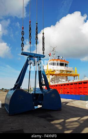 MV Richelieu unloading her cargo in Birkenhead Docks, Wirral, UK - Stock Photo