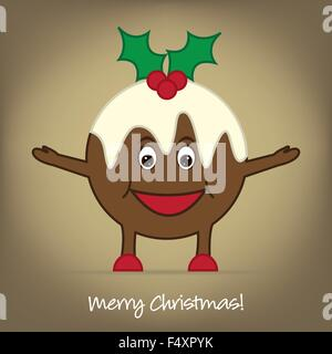 Cartoon Christmas Pudding card in vector format. - Stock Photo
