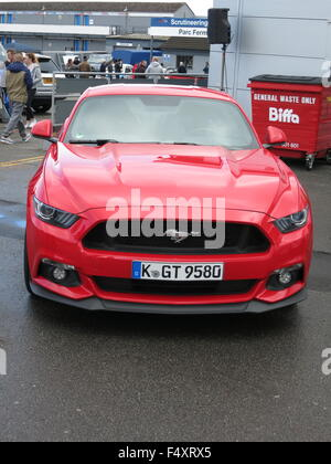 Ford Mustang 5.0 Litre - 2015 pre launch german registered in red as shown at donnington park at RS owners club - Stock Photo