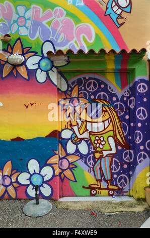 graffiti at Punta Arabi hippy market, Ibiza Spain - Stock Photo