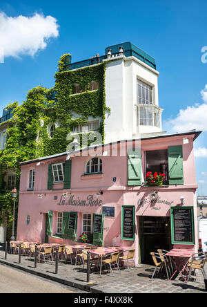 paris france montmartre la maison rose restaurant at 2 rue de stock photo 166697082 alamy. Black Bedroom Furniture Sets. Home Design Ideas
