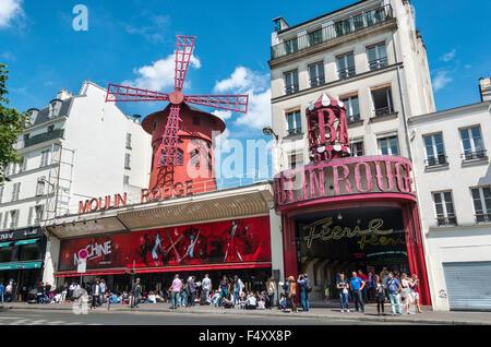 Moulin Rouge, Montmartre, Paris, Ile-de-France, France - Stock Photo