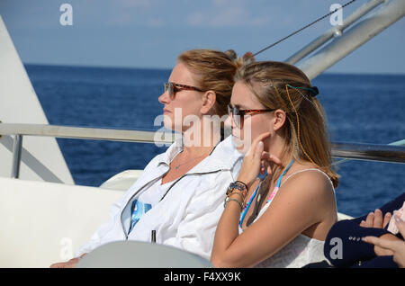 mother and daughter enjoying the sun, Ibiza Spain - Stock Photo