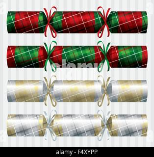 Tartan Christmas cracker set in vector format. - Stock Photo