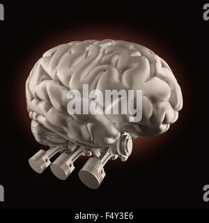 Brain with combustion engine valves - brain stimulation and power concept - Stock Photo