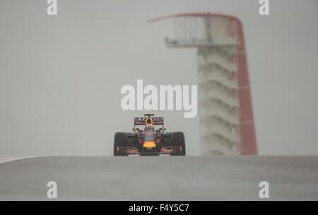 Austin, Texas USA October 24, 2015: Formula 1 driver Daniel Ricciardo of Infiniti Red Bull Racing powers through - Stock Photo