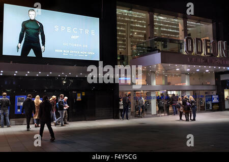 Odeon cinema , Leicester Square, London advertising the release of  James Bond film Spectre starring Daniel Craig - Stock Photo