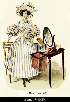Vintage fashion illustrated,lady with striped dress,La Mode, Paris 1830 - Stock Photo