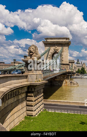 BUDAPEST - JULY 22: Magnificent Chain Bridge in beautiful Budapest. Szechenyi Lanchid is a suspension bridge that - Stock Photo