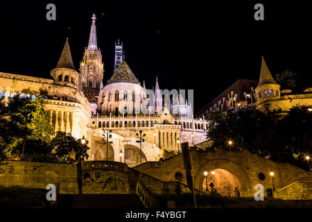 Fisherman's Bastion at night in Budapest Hungary - Stock Photo