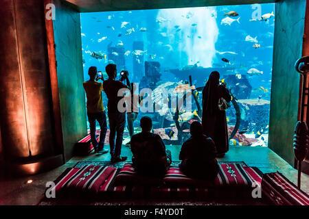 DUBAI, UAE - SEPTEMBER 30: Large aquarium in Hotel Atlantis (1,539 spacious guest rooms including 166 suites) on - Stock Photo
