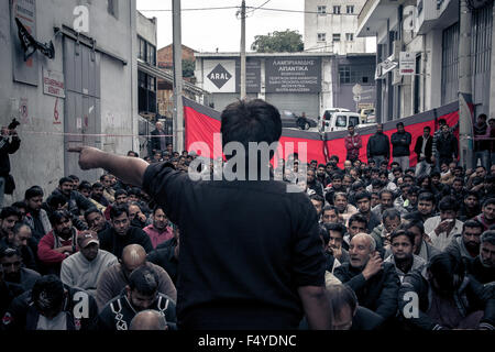 Shia Muslims gather in Piraeus to celebrate the day of Ashura, in Athens, Greece. The day of Ashura is celebrated - Stock Photo
