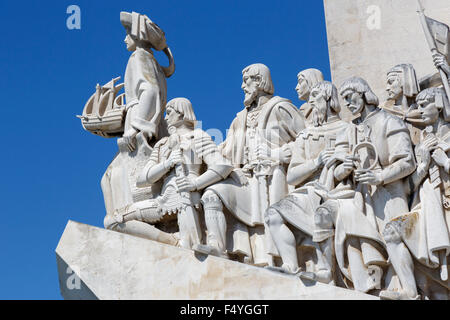 A close up of the Early Navigators on the Monument to the Discoveries (Padro dos Descobrimentos) against a clear - Stock Photo