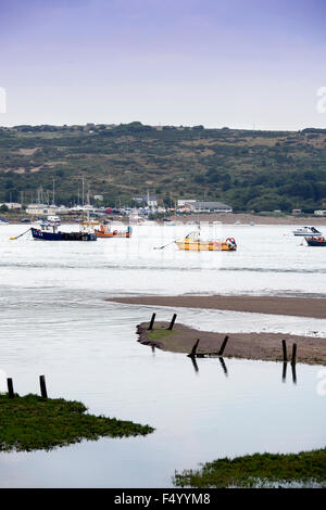 Fishing boats moored on the River Teifi estuary near St Dogmaels, Pembrokeshire, Wales UK - Stock Photo