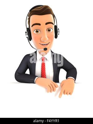 3d businessman with headset pointing to empty wall, isolated white background - Stock Photo