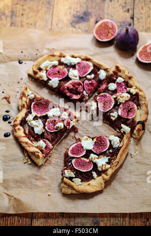 Figs, caramelized onions and goat cheese tart - Stock Photo