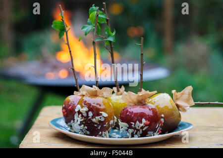 Toffee apples and a bonfire in the background - Stock Photo