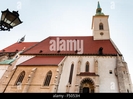 travel to Bratislava city - view of St. Martin Cathedral from town walls in Bratislava - Stock Photo