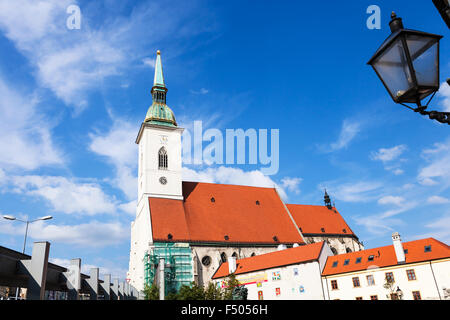 travel to Bratislava city - view of St. Martin Cathedral from Rybne namestie (square) in Bratislava - Stock Photo