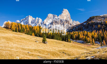 The Pale di San Martino massif. Passo Rolle. Dolomites - Stock Photo