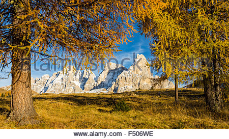 The Pale di San Martino massif. The Dolomites. Autumn season. - Stock Photo