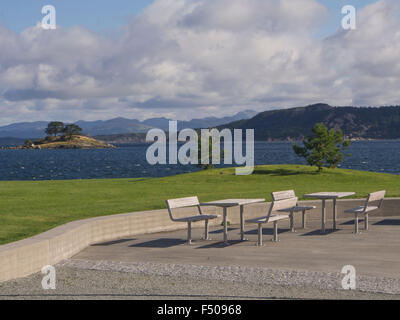 Jattavagen, Stavanger Norway, former industrial area now converted to modern living on the fjord, outdoors benches - Stock Photo