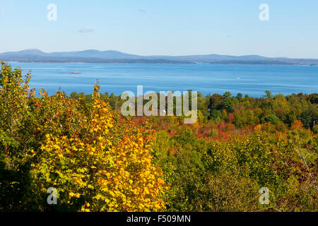A view from Mount Desert Island out over Acadia National Park to the Atlantic Ocean, Acadia National Park, Maine - Stock Photo