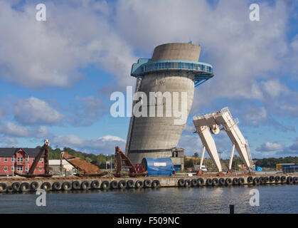 Jattavagen, Stavanger Norway, former industrial area, the leaning tower, made to test gliding scaffolding concrete - Stock Photo