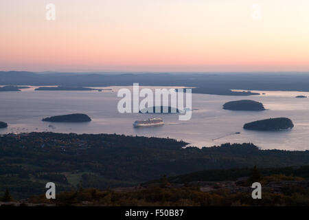 Sunrise over Bar Harbor, seen from the top of Cadillac Mountain, Acadia National Park, Mount Desert Island, Maine - Stock Photo