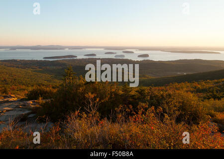 Acadia national Park, Bar Harbor and Frenchmans Bay view at sunrise from the top of Cadillac mountain, Maine USA - Stock Photo