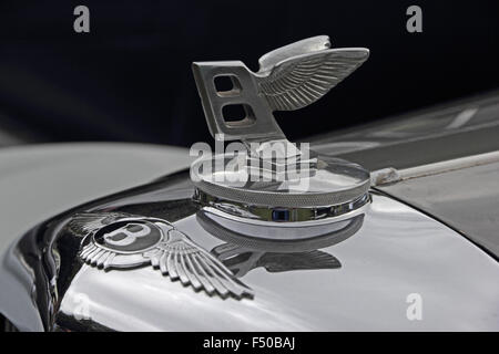 Radiator badging and flying B on classic Bentley car - Stock Photo