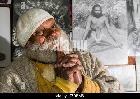 A portrait of Swami Sundaranand, a famous Sadhu, yogi and photographer - Stock Photo