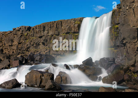 The Oxarafoss, one of Icelands beautiful waterfalls - Stock Photo