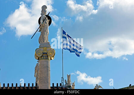 Side view of the statue of the Greek goddess Athena / Pallas Athene  against blue cloudy sunny sky. Athens, GR - Stock Photo