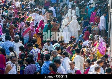 Thousands of Jain pilgrims are visiting Shatrunjaya hill, one of the major pilgrim sites for Jains, at the day of - Stock Photo