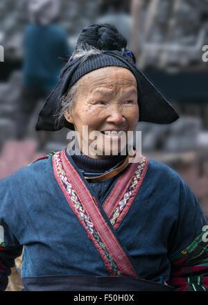 Village elder, Langde Shang Miao Village, Guizhou Province, China - Stock Photo