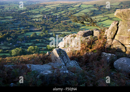 View from Chinkwell Tor down to Widecombe village on Dartmoor - Stock Photo