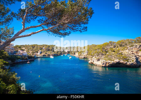 Boats in the harbour of Cala Figueira, Mallorca - Stock Photo