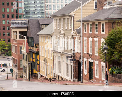 Shops on Thomas Street  Providence Rhode Island; and part of the College Hill Historic District. - Stock Photo