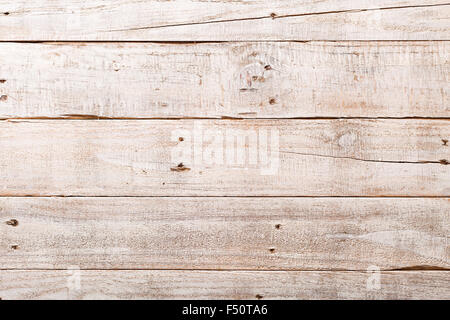 White wooden rustic background with planks and nails - Stock Photo