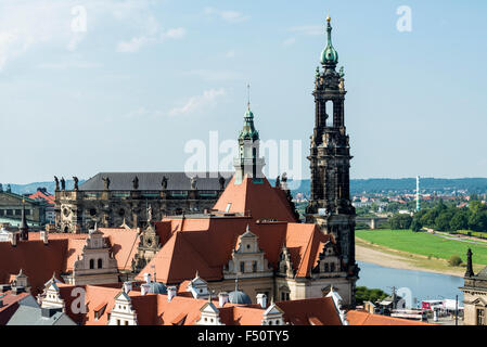 An aerial view of the Dresden Castle, the Residenzschloss and the church Catholic Court Chapel in the old part of - Stock Photo