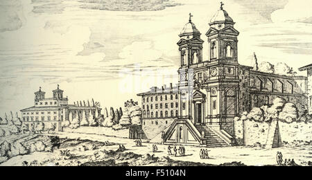 Illustration of Church of the Santissima Trinita dei Monti de 'Preti Least French on Monte Pincio, Rome, Italy - Stock Photo