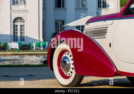 Oldtimer-gathering at Wackerbarth Castle within the wineyards along the valley Elbe - Stock Photo