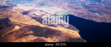 An aerial view of the Gulf of Aqaba and the cities of Eilat (Israel ) and Aqaba ( Jordan ) and the Taba crossing - Stock Photo